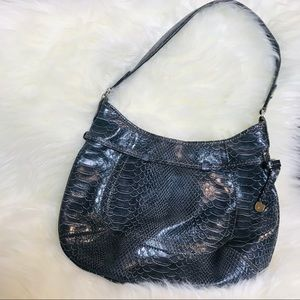 Liz Claiborne Gray Silver Snakeskin Purse Bag